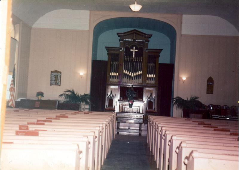 Interior of Pine City Baptist Church original building